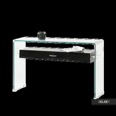 Schreibtisch KATSITA Glas/schwarz mit Schublade