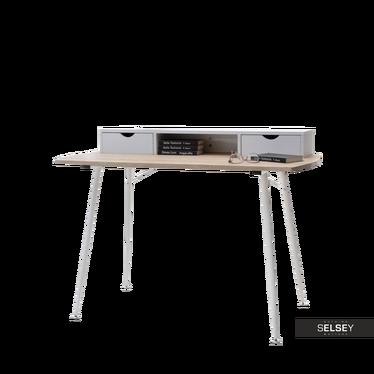 Schreibtisch MALMO Sonoma Eiche/weiß mit Aufsatz