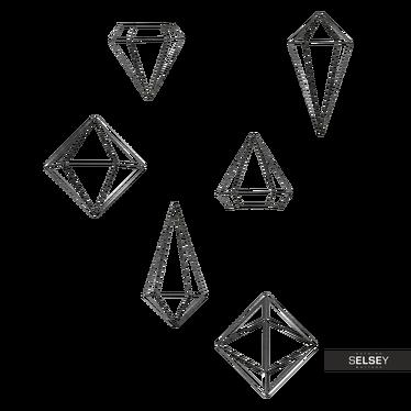 Wanddekoration ENZORI schwarz geometrische Drahtfiguren