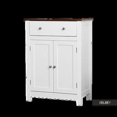 Badschrank WLENS weiß im Landhausstil mit Furnierplatte