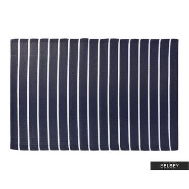 Teppich OUTDOOR dunkelblau/weiß 120x180 cm mit breiten Streifen