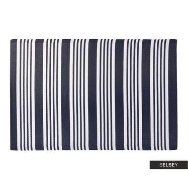 Teppich OUTDOOR dunkelblau/weiß 120x180 cm mit breiten und schmalen Streifen