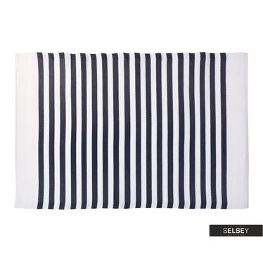 Teppich OUTDOOR dunkelblau/weiß 120x180 cm mit schmalen Streifen