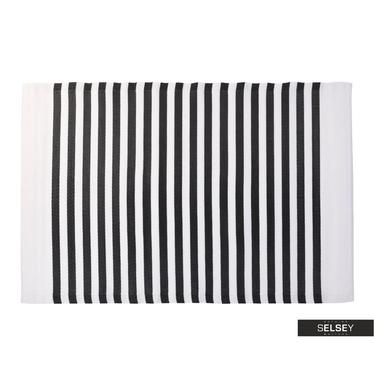 Teppich OUTDOOR schwarz/weiß 120x180 cm mit schmalen Streifen