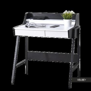 Schreibtisch BORR weiß/schwarz mit Aufsatz und 2 Schubladen