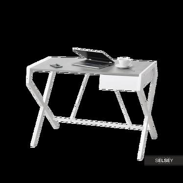 Schreibtisch NAYTHA weiß/Betonoptik mit Schublade