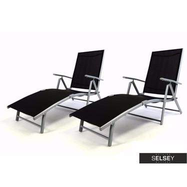 Gartenliegen-Set BLACK 2-teilig