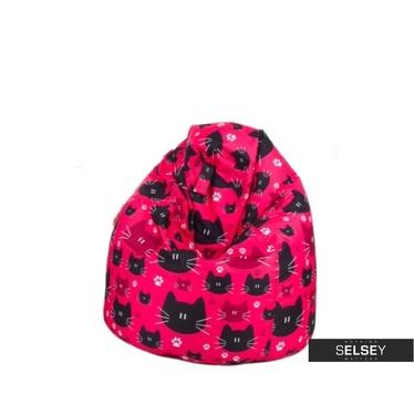 Sitzsack SAKO XL pink mit Katzen-Motiven