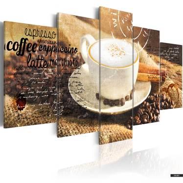 Wandbild COFFE, ESPRESSO, CAPPUCCINO, LATTE MACHIATO 200x100 cm