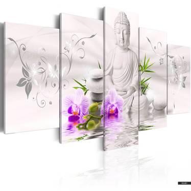 Wandbild BUDDHA weiß 100x50 cm