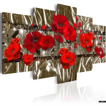 Wandbild GOLDENE MOHNBLUMEN 200x100 cm