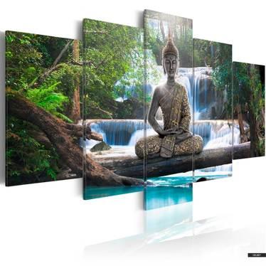 Wandbild BUDDHA UND WASSERFALL 100x50 cm