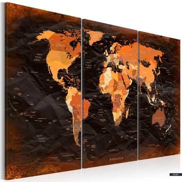 Wandbild UNGEWÖHNLICHE WELTKARTE 60x40 cm