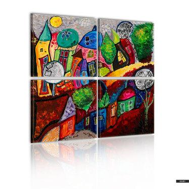 Wandbild FARBENFROHES STÄDCHEN 80x80 cm
