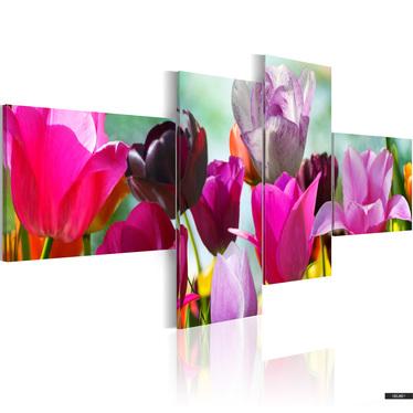 Wandbild BUNTE TULPEN 200x90 cm