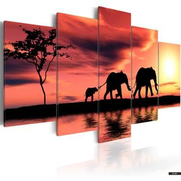 Wandbild ELEFANTEN FAMILIE 100x50 cm