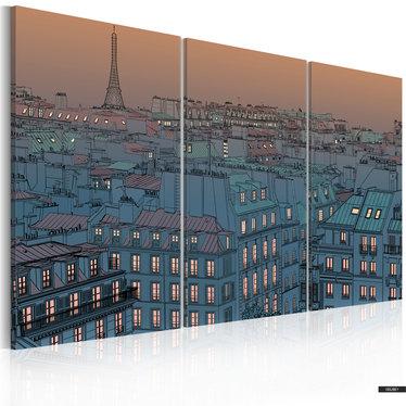 Wandbild PARIS - EINBRUCH DER NACHT 120x80 cm