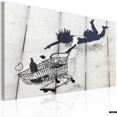 Wandbild FRAU MIT EINKAUFSWAGE by Banksy 60x40 cm