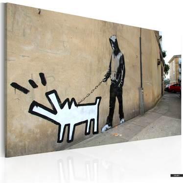 Wandbild BELLENDER HUND by Banksy 60x40 cm