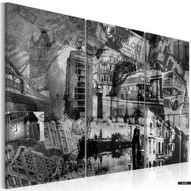 Wandbild LONDON COLLAGE schwarz-weiß 3-teilig 120x80 cm