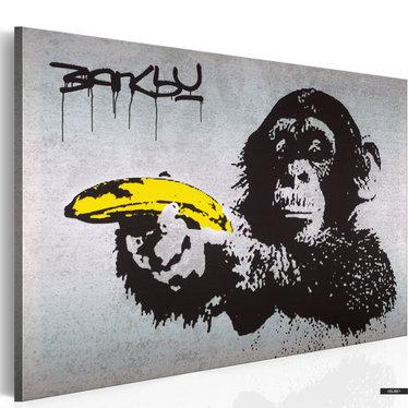 Wandbild AFFE MIT BANNANE by Banksy 60x40 cm