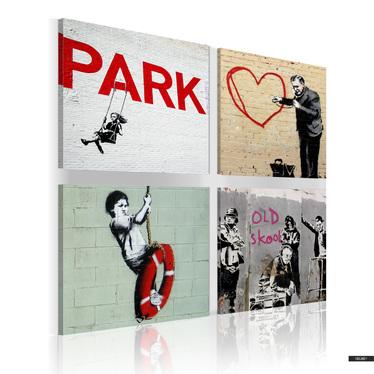 Wandbild BANKSY Graffiti 40x40 cm