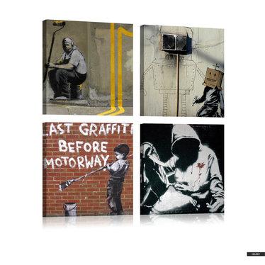 Wandbild BANKSY Straßenkunst 80x80 cm
