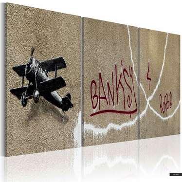 Wandbild FLUGZEUG by Banksy 60x30 cm