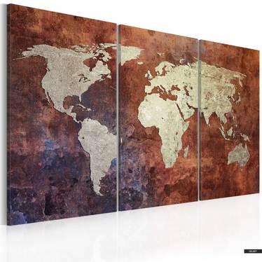 Wandbild ROSTFRBENE WELTKARTE 120x80 cm