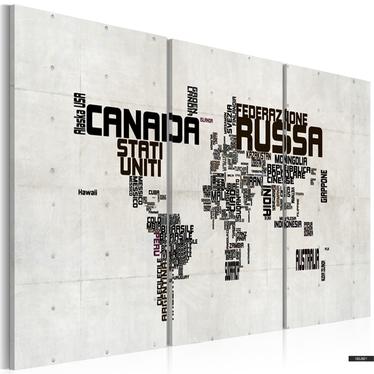Wandbild WELTKARTE - ITALIENISCH 120x60 cm