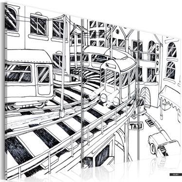 Wandbild FUTURISTISCHER BAHNHOF schwarz-weiß 120x80 cm