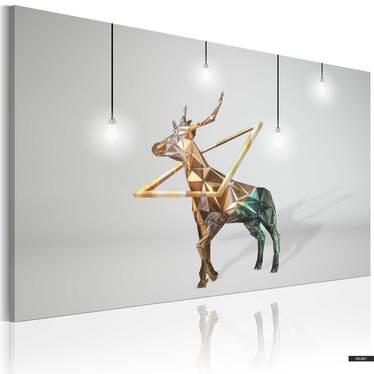 Wandbild GOLDENER HIRSCH 90x60 cm