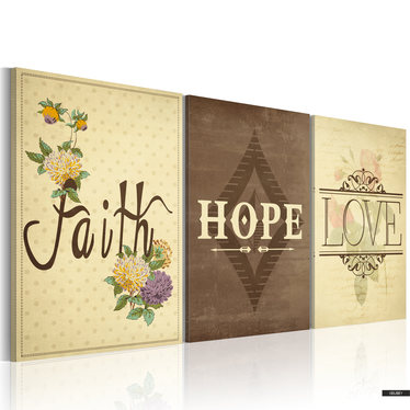 Wandbild FAITH, HOPE & LOVE  120x80 cm