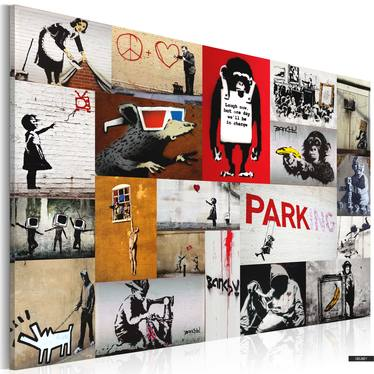 Wandbild BANKSY Collage 90x60 cm