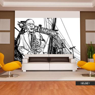 Fototapete SAXOPHONSPIELER ON BROADWAY schwarz/weiß
