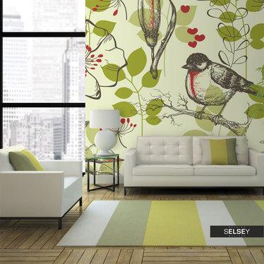 Fototapeta Ptak i lilie motyw vintage
