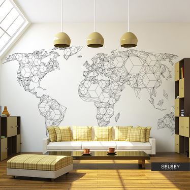 Fototapeta - Map of the World - white solids 400x309 cm