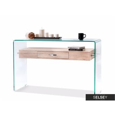 Schreibtisch KATSITA Glas/Holzoptik mit Schublade