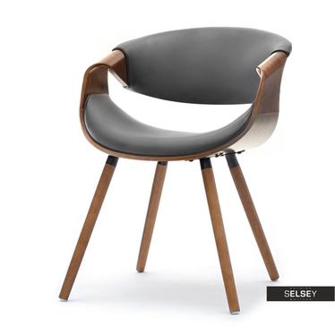 Stuhl BENT Nussbaum/grau Kunstlederbezug