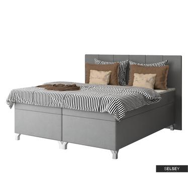 Boxspringbett PAVAROTTI mit Bettkasten, Bonellfederkernmatratze, Topper und  LED-RGB grau