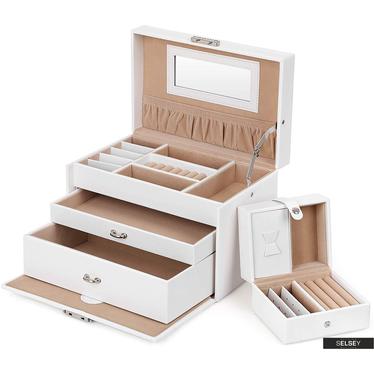 Schmuckkästchen QUARTZ weißer Leder-Look mit 2 Schubladen