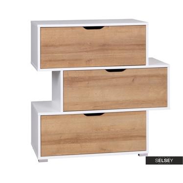 Kommode CASPE weiß/Holzoptik mit versetzten Schubladen