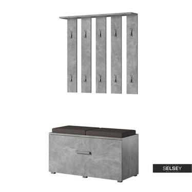 Garderoben-Set GASRO in Betonoptik mit Sitzbank