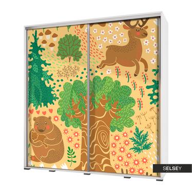 Kleiderschrank VENEDIG 205 cm mit Wald und Waldtieren