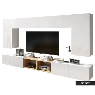Wohnzimmer-Set KIRDON modular mit Hochglanzfronten