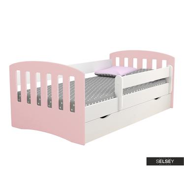 Kinderbett PAMMA in Weiß/Puderrosa mit Rausfallschutz