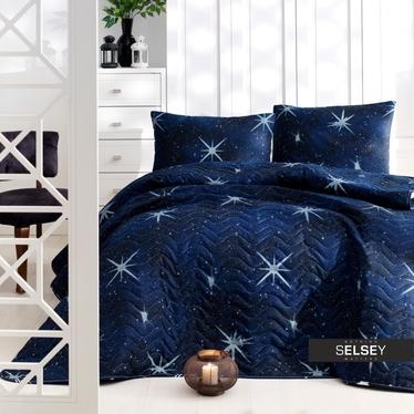 Tagesdecke UNIVERSE 200x220 cm und 2 Kissenbezüge 50x70 cm blau mit Sternmuster