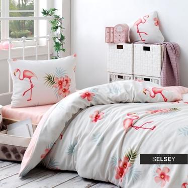 Bettwäsche-Set FLAMINGO 160x220 cm mit Kissenbezug 50x70 cm und Bettlaken in Creme