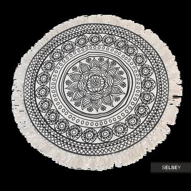 Fransenteppich 90 cm rund dunkles Muster Nr. 1