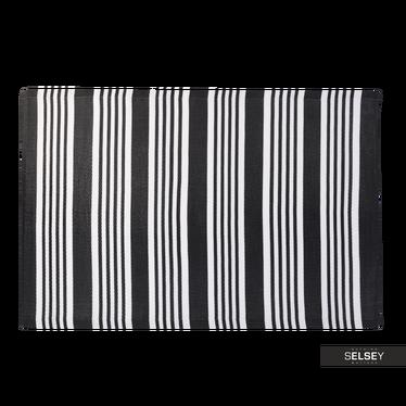 Teppich OUTDOOR schwarz/weiß 120x180 cm mit breiten und schmalen Streifen